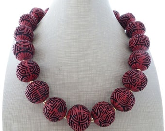 Cinnabar necklace, red and black chunky necklace, oriental necklace, gemstone choker, large beaded necklace, urban jewelry, gift for her