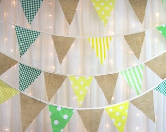 Summer Hessian Bunting with yellow and lime green spots stripes & gingham, garden parties, weddings, baby showers, summer fetes