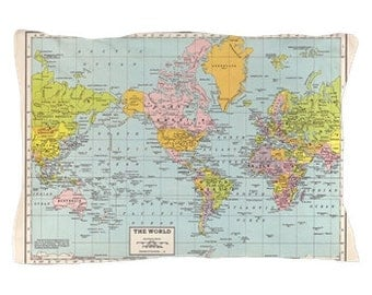 World Map Pillow Case in vintage pastels,  map decor  - , unique travel, wander, classic,  bedroom, bedding, design