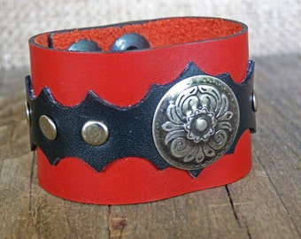 Dark red and black large leather bracelet cuff with conchos, Western Country style, Size XS and M, handmade