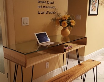 Retro/Modern Glass and Wooden Desk