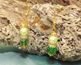 Emerald Green Swarovski Cubes with Apple Green Pearl Earrings