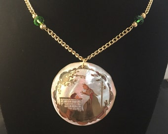 Fairy Tale Princess and Frog Mother of Pearl Gold Green Crystal Necklace Pendant