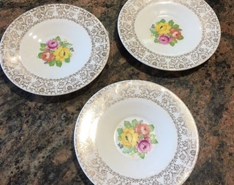 Free ship, Royal Dalton plates, 22 K Gold, cup saucers,lot of 3,saucer,plates,porcelain china