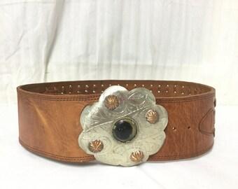 Moroccan leather Belt, Wide Leather belt,Round Buckle, Brass,silver tone, Stone,boho belt