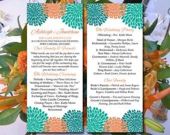 Chrysanthemum Wedding Program Template Download - Orange Green Teal Ceremony Program - Tea Length Wedding Program - DIY Wedding Template