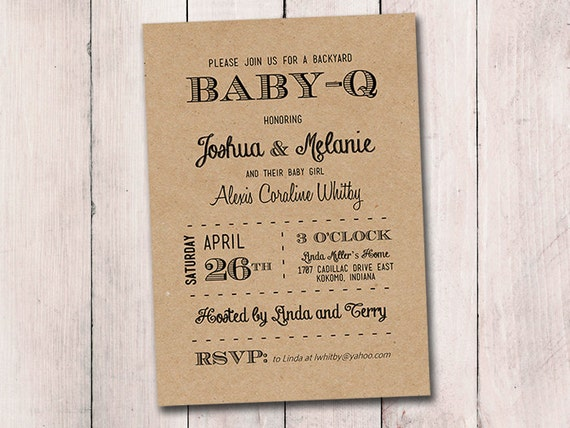 baby-q baby shower invitation template download black kraft, Baby shower invitations