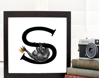 S is for Sloth Personalised Initial print