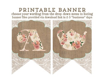 happy birthday banner, printable banner, burlap bunting, lace floral banner, floral banner, party printable, print my party, party pack
