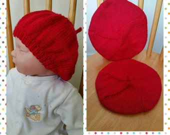 Knitted Baby Beret Beanie Hat Newborn 0-3mths 3-6mths 6-12mths *Any Colour*