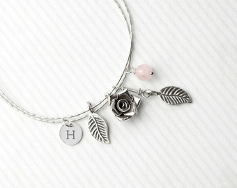 Personalised Sterling 925 Silver Bracelet With Rose Quartz Gemstones - Serif Font - Gift For Wife - Romantic - FREE UK DELIVERY