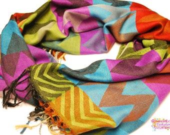 Beautiful Zigzag Pashmina Scarf, Pashmina Shawl, Zigzag Scarf, Pashmina, Ornament Scarf, Wedding Shawl, Oversize Scarf, Gift For Her