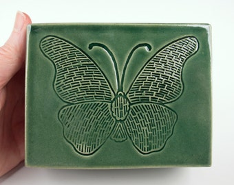 Handmade teal green ceramic box, butterfly stamped, slab built, white stoneware
