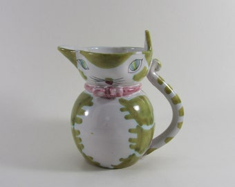 Vintage Hand-painted Italian Cat Pitcher