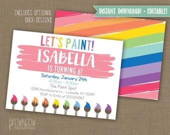 INSTANT DOWNLOAD! Printable // Editable // Painting Party Invitation // Art Party Invitation PDF