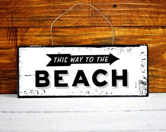 this way to the beach wood sign guest cottage sign wood wall art wood sign Rustic home decor shabby chic sign wooden signs rustic signs