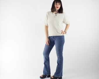 Vintage Tommy Hilfiger Denim | 90s Flare Tommy Jeans | Low Rise Bell Bottom Pants