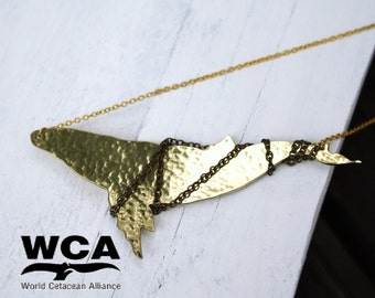Limited Edition Brass Gold Whale Pendant Necklace - WCA Untangled Project - Ocean Conservation - 25% of profits goes to charity!