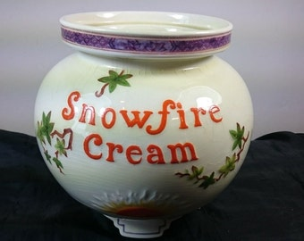 Vintage Royal Cauldon Snowfire Cream Pharmacy Display Advertising Jar