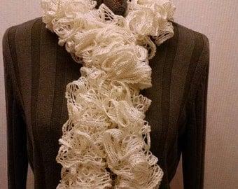 Red heart white ruffled scarf