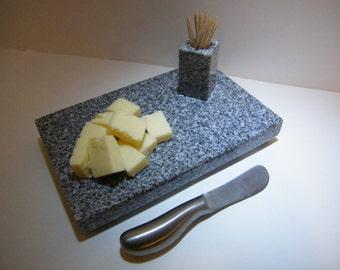 Granite Cutting Board, Stone Trivet and Toothpick Holder, Granite Stone Kitchen Set
