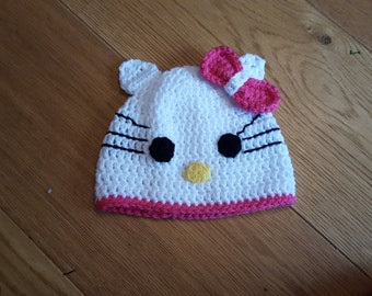 Hello Kitty 'style' crochet hat - Handmade with Love - Age 1 year +