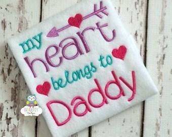 My Heart Belongs to Daddy Shirt or Bodysuit, Heart Belongs to Daddy Valentine Shirt, Valentine Shirt, Love Shirt, Girl Valentine Shirt