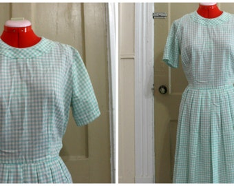 50s Teal Plaid Day Dress Size XL