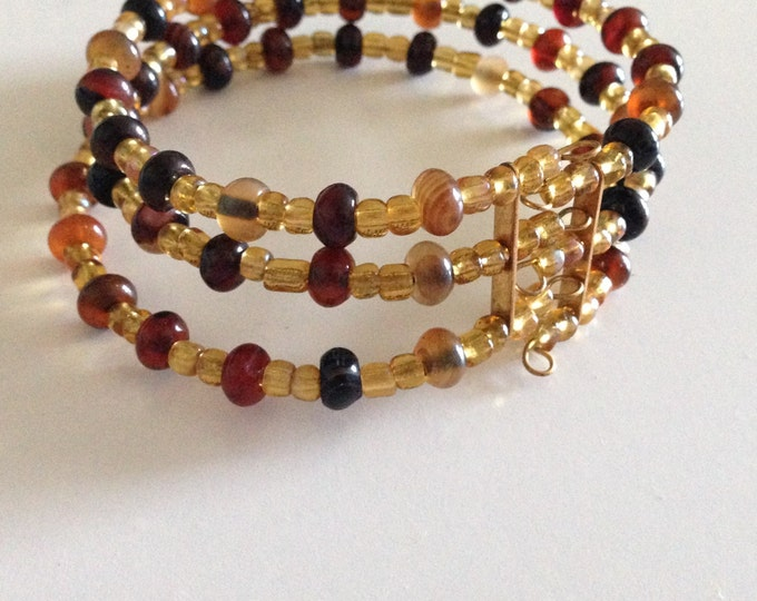 clearance! gold glass and agate beaded cuff bracelet