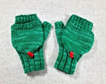 Convertible Fingerless Gloves for toddlers, green, wool merino, arm warmers with flap, gift for kids