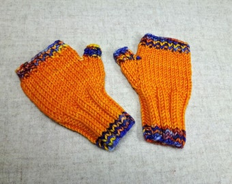 Fingerless Gloves for Babys up to 18 M. Orange, Violet, Mittens 100% Wool Merino, Arm Warmers, handknitted