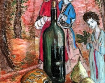 "Original Pastel Painting, FREE SHIPPING Worldwide, 8"" x 11"", Still-Life, Wall Decor, Home Decor, wine bottle, pears, wedding gift, gift idea"