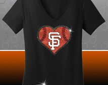 San Francisco SF Giants Rhinestone Glitter Bling T-shirt - Ladies Vneck