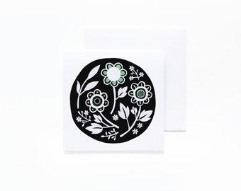 Green Floral Notecard - Blank Interior