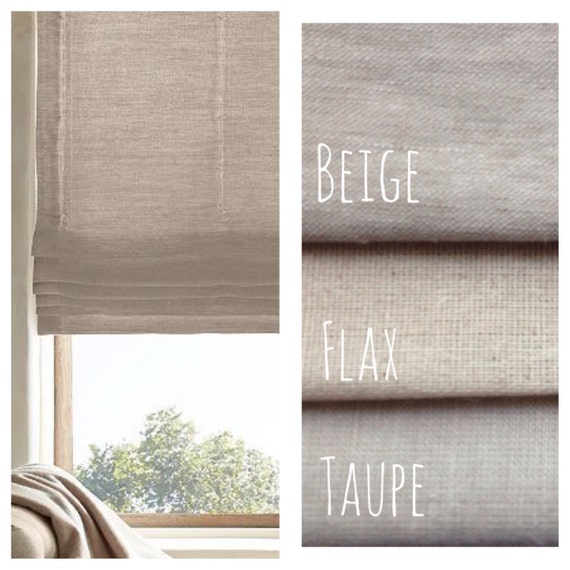 Natural beige linen flat roman shades faux roman by for Linen shades window treatments