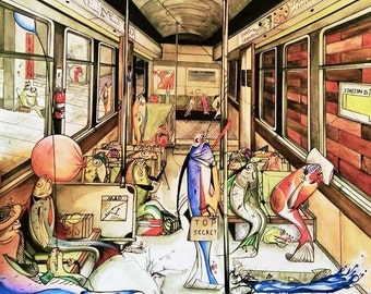 FISH ON A SUBWAY watercolor painting