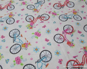 Flannel Fabric - Cruiser Bicycles - 1 yard - 100% Cotton Flannel