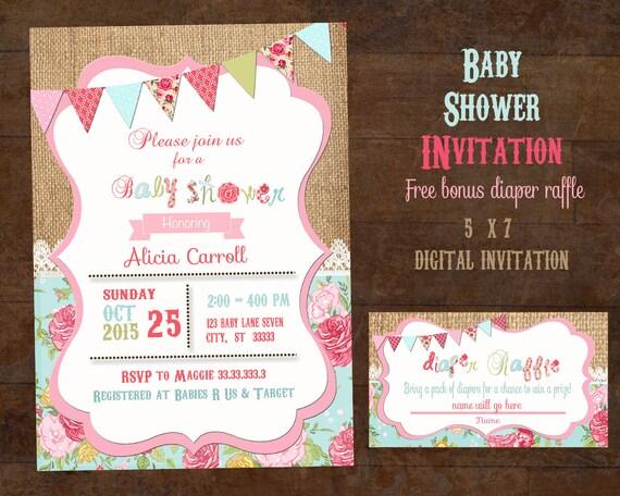 shabby chic baby shower invitation girl baby shower invitation vintage