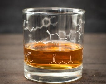 Whiskey Chemistry Lowball Rocks Glass | Molecule Whisky, gifts for men, gifts for her, bachelor party gift, molecular gastronomy