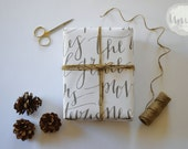 Joy to the World Calligraphy Christmas Wrapping Paper