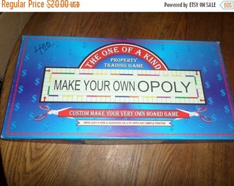 Save 20% Today Vintage 1988 Board Game Make Your Own Opoly Customized Personalized Monopoly Like Game