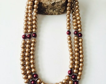 Glass Pearls Multistrand Necklace.