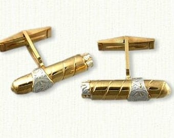 SS04006-Cigar Cuff Links - Sterling Silver w/ 18kt Electroplating - What a Great Gift!