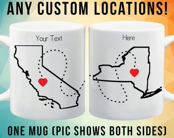 State to State Mugs. Long Distance Relationship Mug - Going Away Gift, Best Friend Gift, Going Away Present - Complete Customization