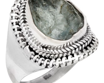 Natural Rough Aquamarine Ring Solid 925 Silver Jewelry Size 8.25 IR35248
