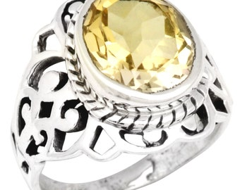 Natural Citrine Gemstone Ring Solid 925 Sterling Silver Jewelry Size 6.5 IR35524