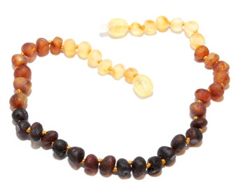 Genuine Raw Baltic Amber Adult Anklet Rainbow  25-27 cm/9.8-10.6 in Authentic Unpolished
