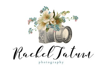 "INSTANT DOWNLOAD Custom Premade Photography Logo and Watermark ""Vintage Flower Camera"" - Fully Custom Font and Color"