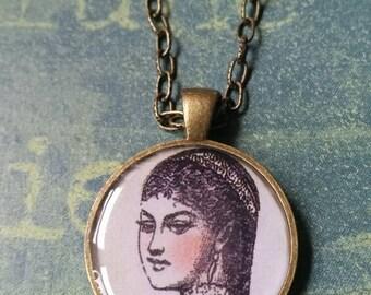 Handmade woman face pendant necklace