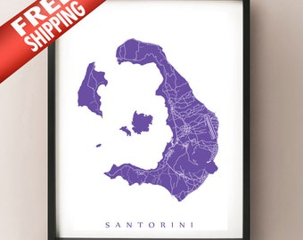 Santorini, Greece Map Print - Thera Art Poster - Σαντορίνη Θήρα